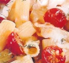 Macarrones al queso con tomates cherry