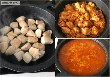 preparar arroz caldoso con pollo