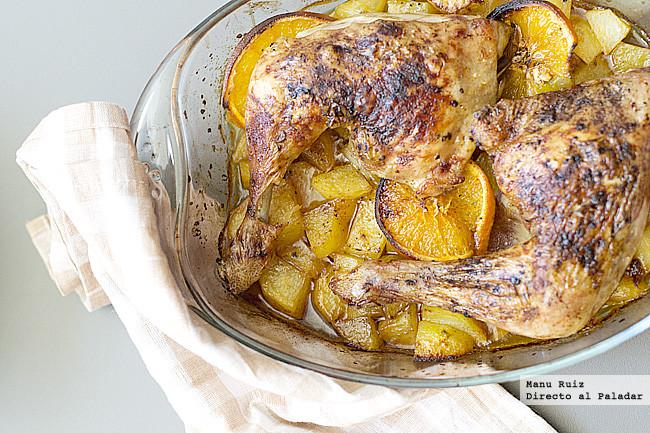 Pollo asado a la naranja con piment n receta for Cocinar un pollo entero
