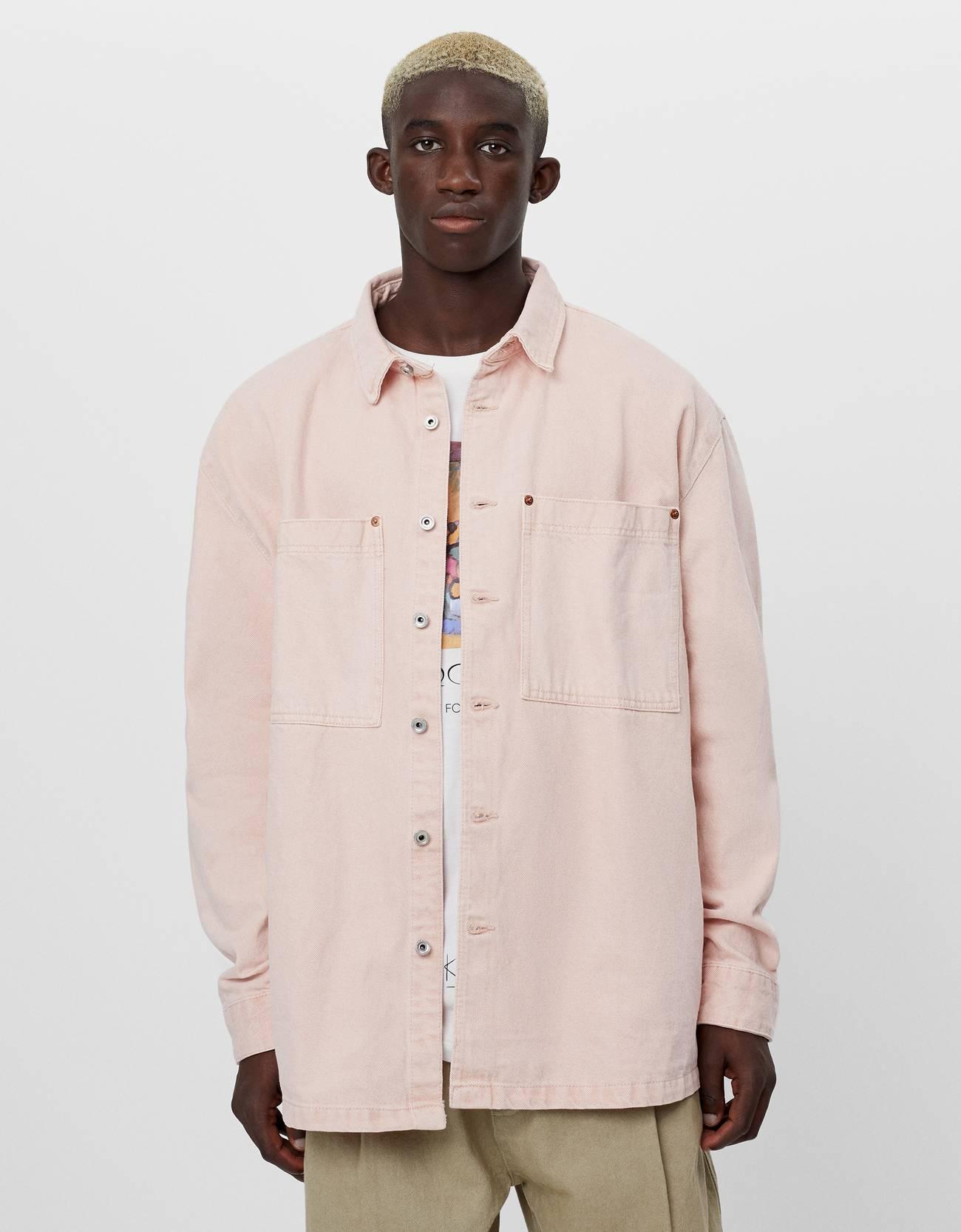 Sobrecamisa de algodón en rosa pastel