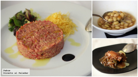 steak tartar, pochas y pincho de chipiron