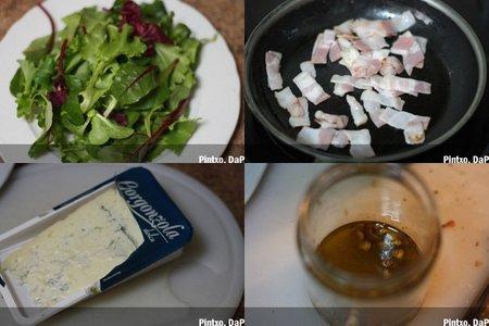 Ensalada de gorgonzola y pera con vinagreta de pistachos. Pasos
