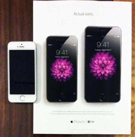 Apple nos ahorra los modelos de papel mostrando el tamaño real de los iPhone 6 en sus anuncios
