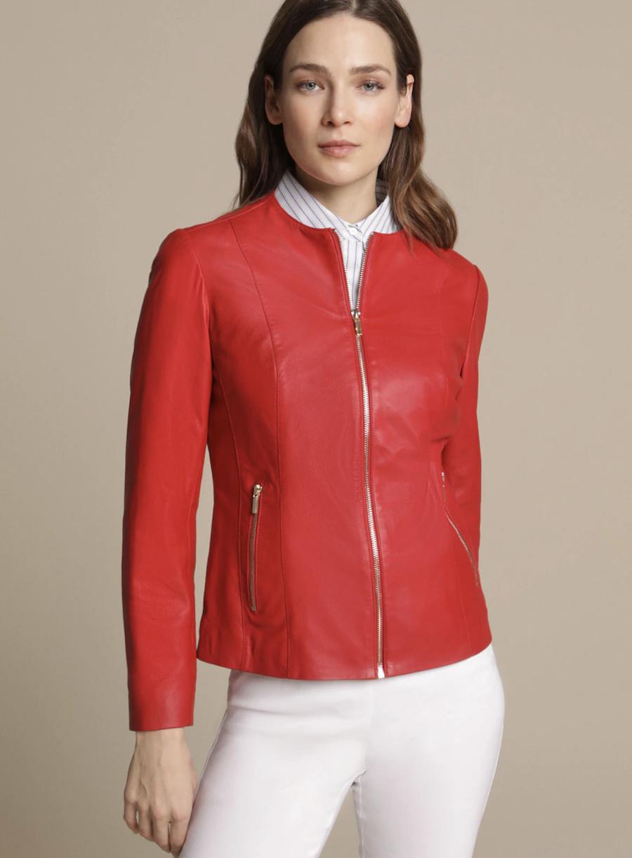 Cazadora de napa de mujer en color rojo