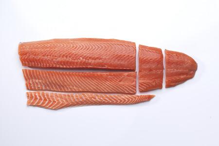 Nsc Salmon Cortes Grandes Salmon Noruego Fondo Blanco