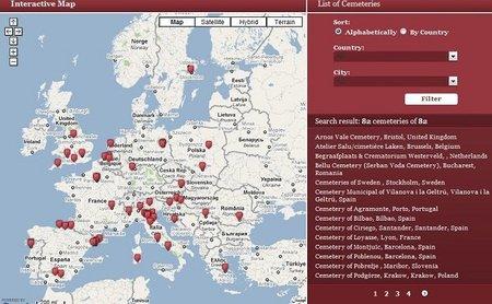 Mapa interactivo de los cementerios europeos ideales para visitar