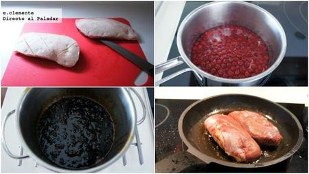 magreta de pato con salsa de grosellas