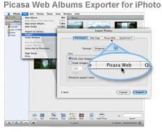 Picasa Web Albums, opciones de subida para Mac