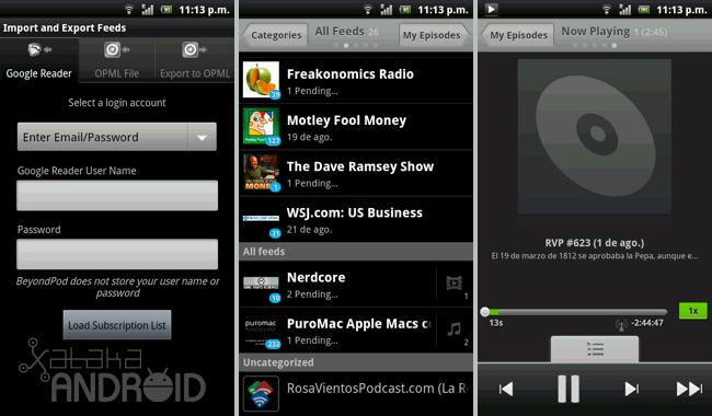BeyondPod Podcast Manager, ideal para escuchar tus podcasts