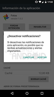 Desactivar notificaciones