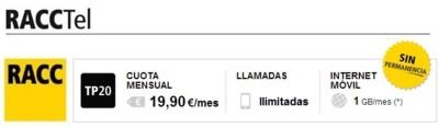 RACCTel también ofrecerá la tarifa ilimitada con 1 GB por 19.90 euros