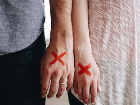 Red X Marked X Couple Stamped Stigma Hands 1246170
