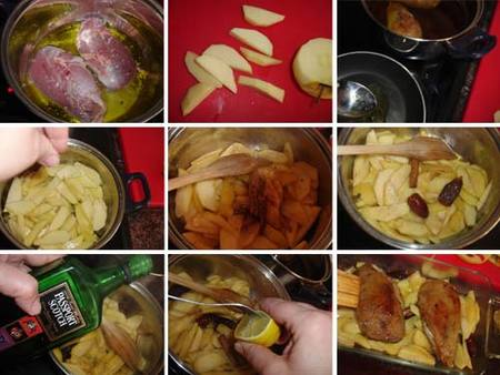 Preparación del magret de pato confitado con manzanas