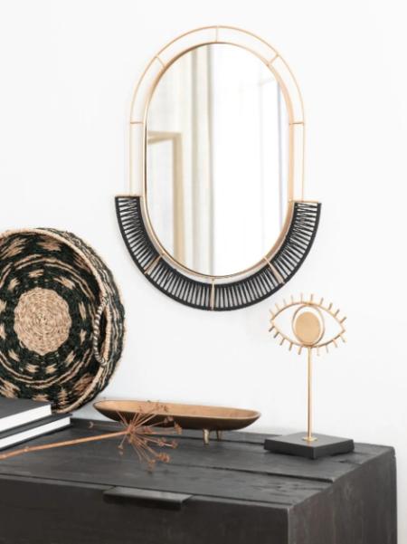 Espejo Ovalado De Metal Dorado Y Cuerda Negra