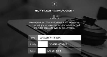Tidal, high fidelity sound quality