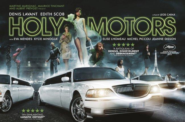Imagen con el cartel de la película 'Holy Motors'