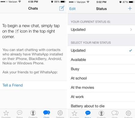 Apariencia de WhatsApp en iOS 7