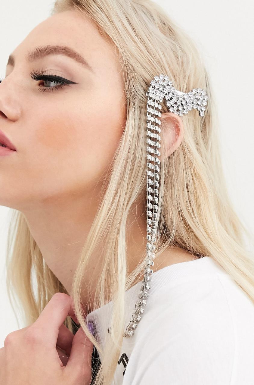 Pasador para el pelo en tono plateado con diseño de ondas con cristales de ASOS DESIGN