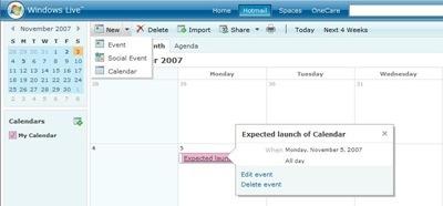 Windows Live Calendar ya está siendo probado