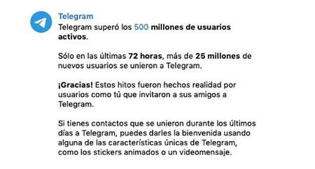 Mensaje de Telegram