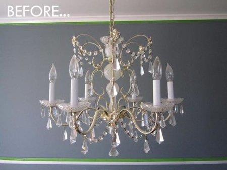 Antes y después: una lámpara candelabro con cristales