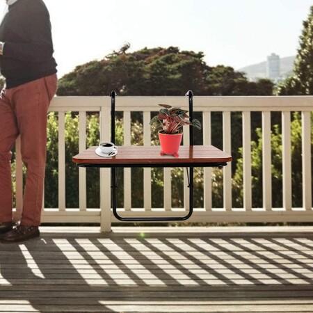 Mesa colgante para barandilla de balcón