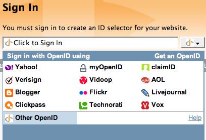 OpenID Selector, widget para OpenID