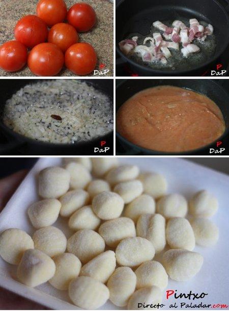 Paso a paso de la elaboración de la receta de ñoquis a la amatriciana