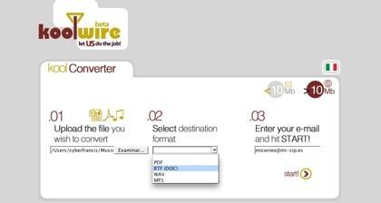 Koolwire ahora con más opciones de conversión de archivos
