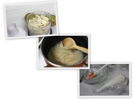 elaboración de la mousse de peras