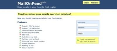 MailOnFeed, crea canales rss de tus cuentas de correos IMAP
