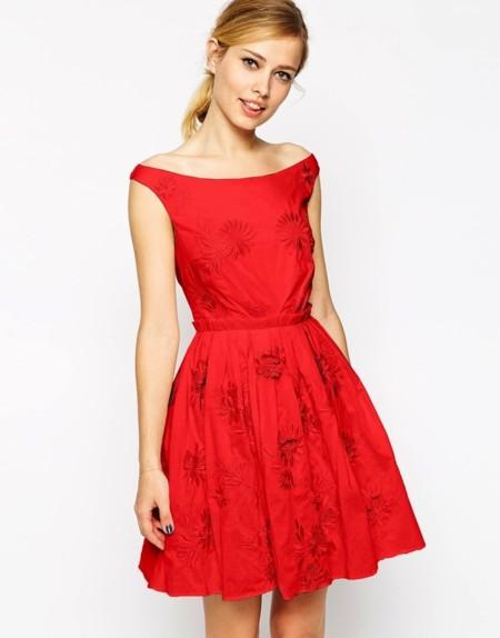 vestido rojo de asos bordado