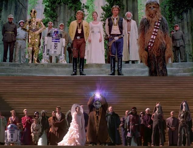 Comparativa de las escenas finales de Star Wars I y IV