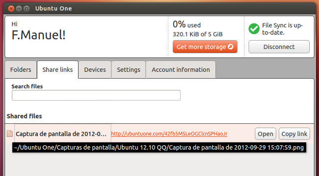 Ubuntu 12.10 compartiendo enlaces en Ubuntu One