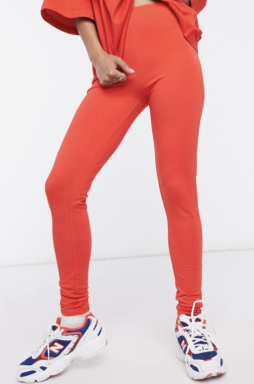 Leggings rojos de tiro alto en algodón modal de ASOS DESIGN