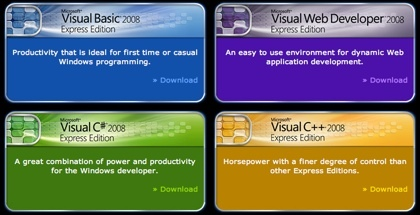 Visual Studio 2008 Express disponible