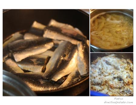Pasta con sardinas. Pasos