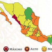 México se tiñe de naranja en el semáforo COVID y Sinaloa vuelve a rojo: solo quedan tres entidades en verde