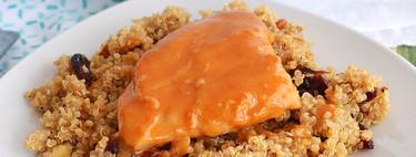 Pollo al chabacano sobre ensalada de quinoa. Receta