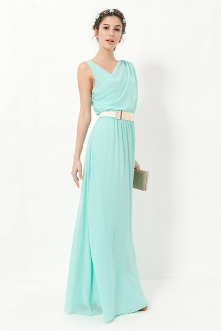 Vestido verde pastel largo
