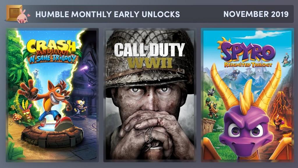 Call of Duty WWII junto las trilogías de Crash y Spyro (y más juegos por anunciar) por menos de 11 euros en el último Humble Monthly