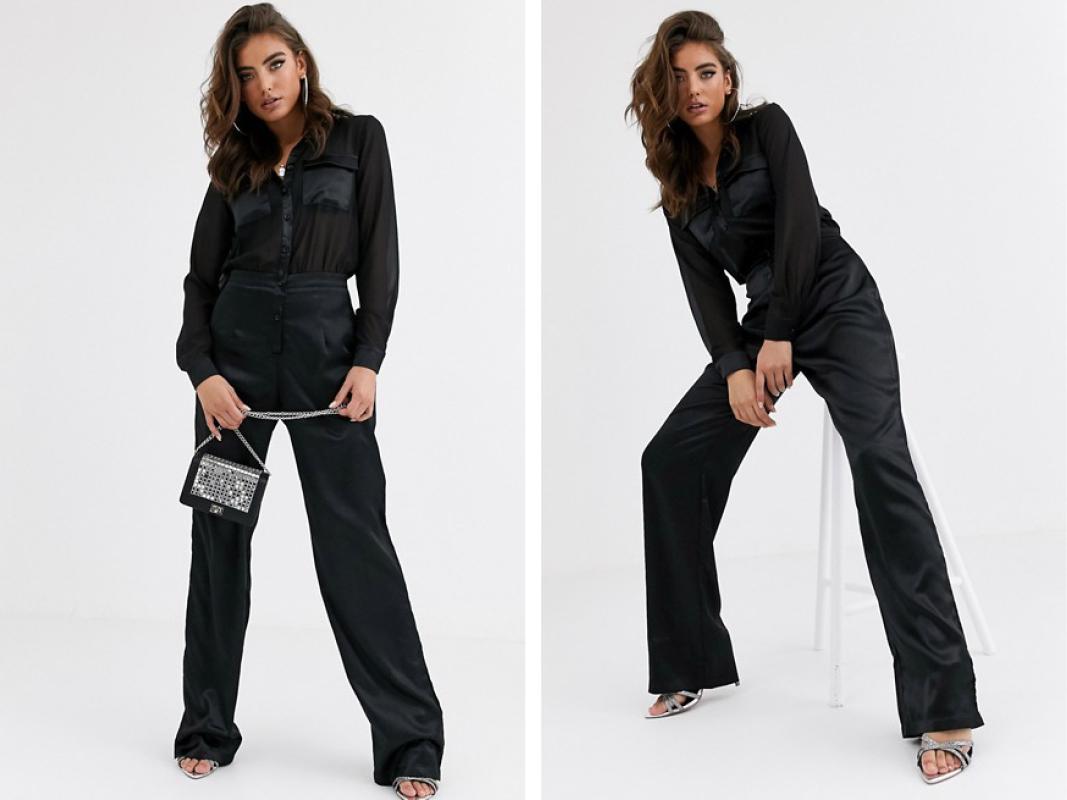 Mono largo camisero de chifón en negro con perneras de satén de Missguided