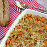 Pasta integral con verduras. Receta vegetariana
