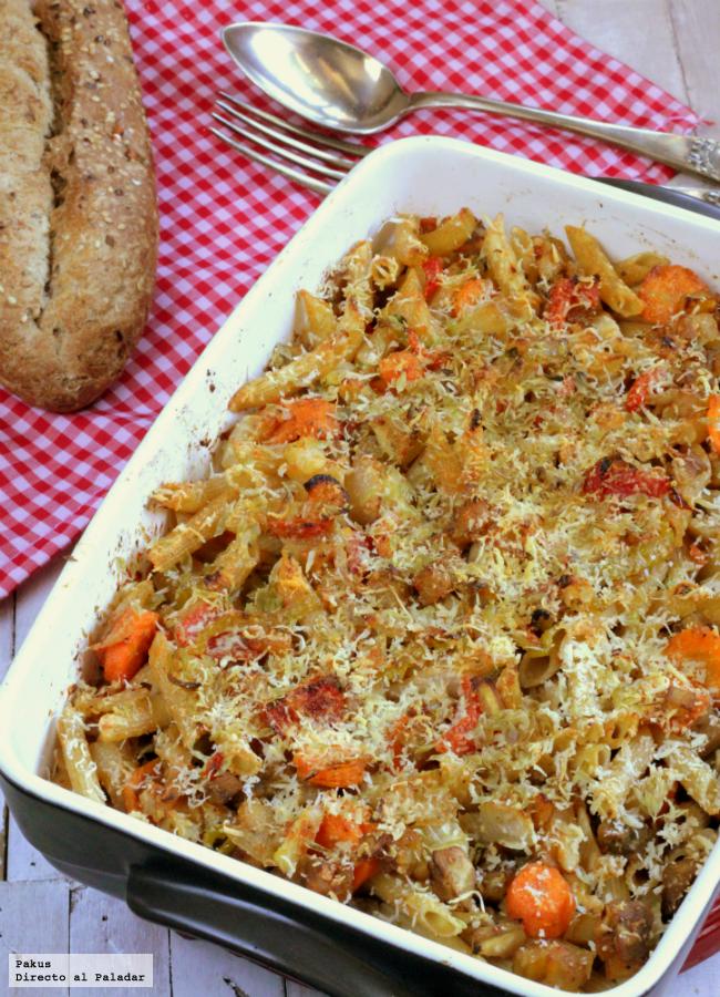 Pasta integral con verduras receta vegetariana - Comida vegetariana facil de preparar ...