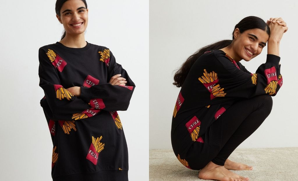 Pijama de dos piezas. Sudadera oversize con hombros caídos. Leggings de punto con cintura elástica.