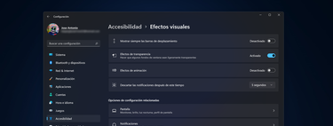 Cómo desactivar las animaciones y las transparencias de Windows 11 para ahorrar en RAM y recursos