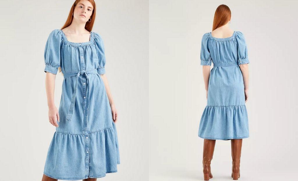 Vestido de aires fold con lavado claro y lardo midi