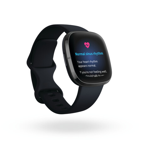 Fitbit Sense Render 3qtr Core Carbon Graphite Ecg Normal Sinus Rhythm Shadow