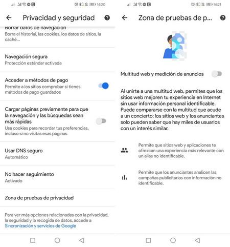 Privacy testing zone
