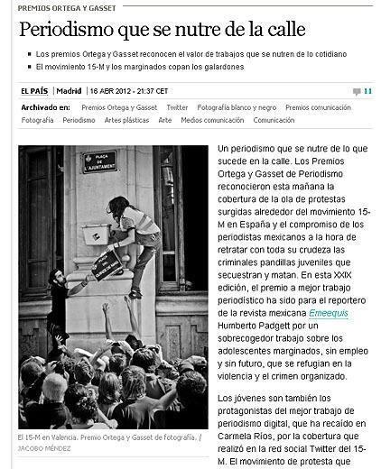 Jacobo Méndez Díez:  Ganador de los Premios Ortega y Gasset en la categoría de periodismo fotográfico